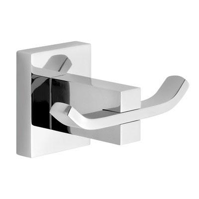 Άγκιστρο τοίχου διπλό, μεταλλικό, με τετράγωνες λεπτομέρειες. DEMM